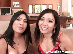 Two pretty Asian ladies pleasure one black cock tubes