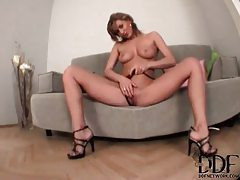 Ranchy milf with long legs teases with her tits tubes