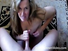 Smiley blonde milf with huge tits milks dick tubes