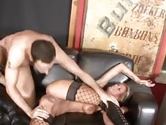 Heavily tattooed blonde vixen rides big cock tubes
