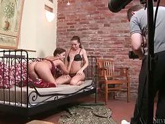 Glamorous lesbos pose for the camera tubes
