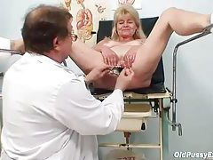 Legs in stirrups for pussy exam tubes