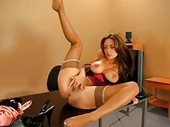 Pornstar nylons and lingerie tease in office tubes