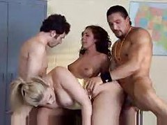 Wild gangbang goes crazy in the garage tubes