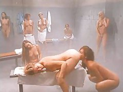 Lesbian orgy in a steamy shower tubes