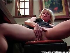 Busty beauty masturbates on a piano bench tubes