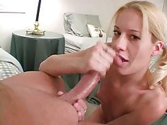 Pigtailed blonde strokes her mans big dick tubes