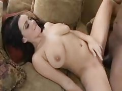 Luscious brunette enjoys big black pole in her butt tubes