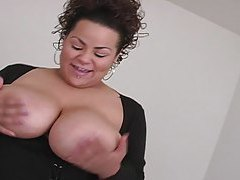 Big babe uses her melons to smother cock tubes
