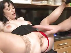 Housewife in stockings fucked in her kitchen tubes