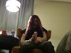 Symone pretends to wank off a big dildo tubes