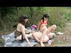 Kinky brunette teen joins mature couple outdoor romp tubes