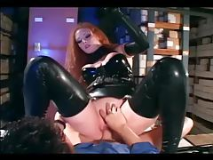 Redhead fucking in gloves and a latex uniform tubes