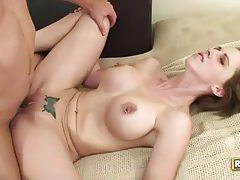 Short haired brunette with pierced nipples has flexible sex tubes