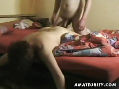 Busty amateur wife sucks and fucks with cumshot tubes