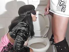 The toilet pee slut wife tubes