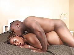 Fat ass ebony hottie and her black lover bang tubes