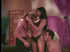 Busty Asian milf gets pleasured in scorching hot threesome tubes