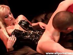 Petite blonde in kinky latex corset sucking cock tubes