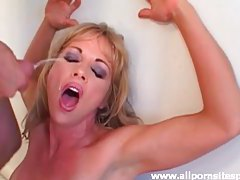 Blonde milf with sexy tan lines milks cock for cum tubes