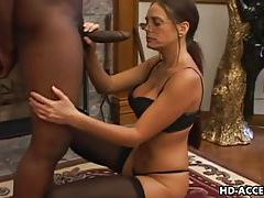 Horny Cheyenne Hunter sucking black dick tubes