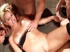 Guys cum on her face as she does anal tubes