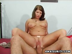 Busty amateur girlfriend sucks and fucks with cumshot tubes