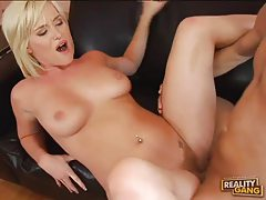 Curvaceous blonde minx with hairy muff fucks huge cock tubes