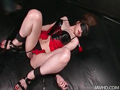 Latex is lovely on dildo fucking Japanese girl tubes