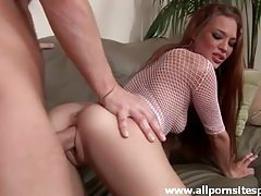 Sultry blonde in sexy fishnet stockings getting drilled tubes