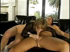 Horny blonde milf gets double penetrated in rough threesome tubes