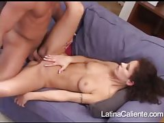Fuzzy haired Latina with nice titties bouncing on dick tubes