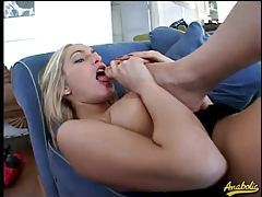 Kinky girl loves foot play and sucking cock tubes