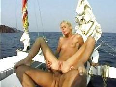 Anal sex on a boat with slender blonde tubes