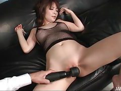 Shaved Japanese pussy vibrated tubes