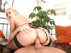 Sexy blonde in seductive lingerie pleases cock tubes