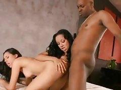 Ebony duo share one big black cock tubes