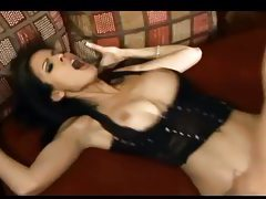 Busty babe Shy Love fucking in shiny black boots tubes