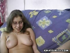 Hairy amateur wife toys and rides a cock with cumshot tube