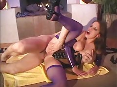 Brunette fucks in shiny latex corset and fishnets tubes