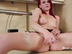 Big ass redhead in garter belt and stockings masturbates tubes