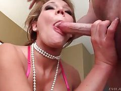 Babe with pearls face fucked then gets facial tubes