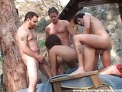 Spit roasted gangbang milf outdoors tubes
