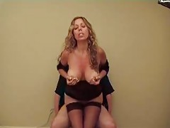 Milf talks dirty and sits on his cock tubes