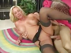 Marvelous milf in black stockings laid by thick cock tubes