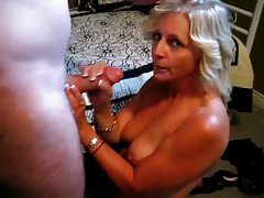 Golden haired mature sucks and strokes dick tubes