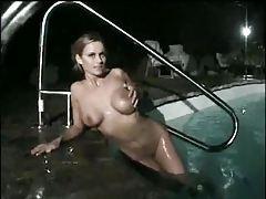 Busty babe skinny dipping at night tubes