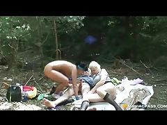 Teen taking a hike joins horny older couple tubes