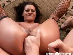 Hot milf in sexy fishnet stockings getting ass drilled tubes