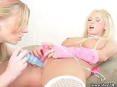Golden haired lesbian cuties using many toys tubes